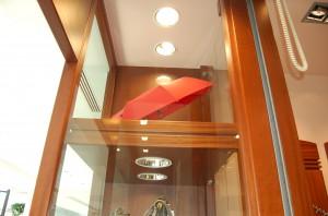 gablota w wystawie (drewno mahoniowe, szkło)
